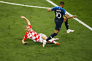 Kylian Mbappe of France and Domagoj Vida of Croatia during the 2018 FIFA World Cup Russia, final football match between France and Croatia on July 15, 2018 at Luzhniki Stadium in Moscow, Russia - Photo Tarso Sarraf / FramePhoto / ProSportsImages / DPPI