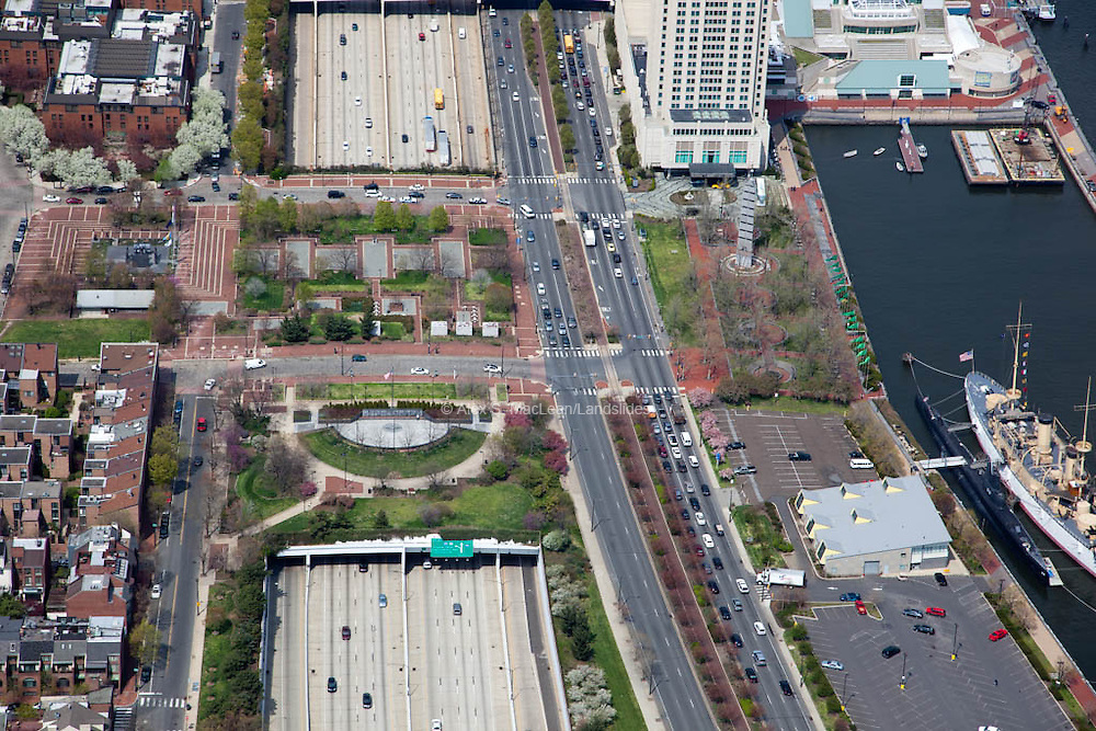 Koren War Memorial Park<br /> <br /> Penn's Landing with park extending over I 95 and the Deleware River