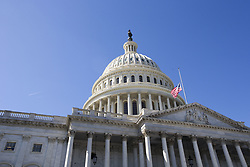 October 3, 2017 - Washington, District Of Columbia, USA - The flag of the United States of America flies at half-staff above the United States Capitol Building a day after the deadliest mass shooting in American history in Las Vegas, Nevada. (Credit Image: © Alex Edelman via ZUMA Wire)