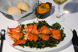 Washington DC; USA:  DC Coast, a fine dining restaurant.  The Chinese Style Lobster dish, on a bed of crispy flash-fried spinach..Photo copyright Lee Foster Photo # 24-washdc83049