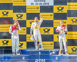 22.05.2016, Red Bull Ring, Spielberg, AUT, DTM Red Bull Ring, Rennen, im Bild v.l.: 2. Platz Mattias Ekstroem (SWE, Audi RS 5 DTM), 1. Platz Timo Glock (GER, BMW M4 DTM), 3. Platz Jamie Green (GRB, Audi RS 5 DTM) // during the DTM Championships 2016 at the Red Bull Ring in Spielberg, Austria, 2016/05/22, EXPA Pictures © 2016, PhotoCredit: EXPA/ Dominik Angerer