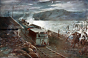 Boer War: Boer leader De Wet attempting to lead a party across a railway in face of fire from an armoured train and blockhouse (1899-1902).