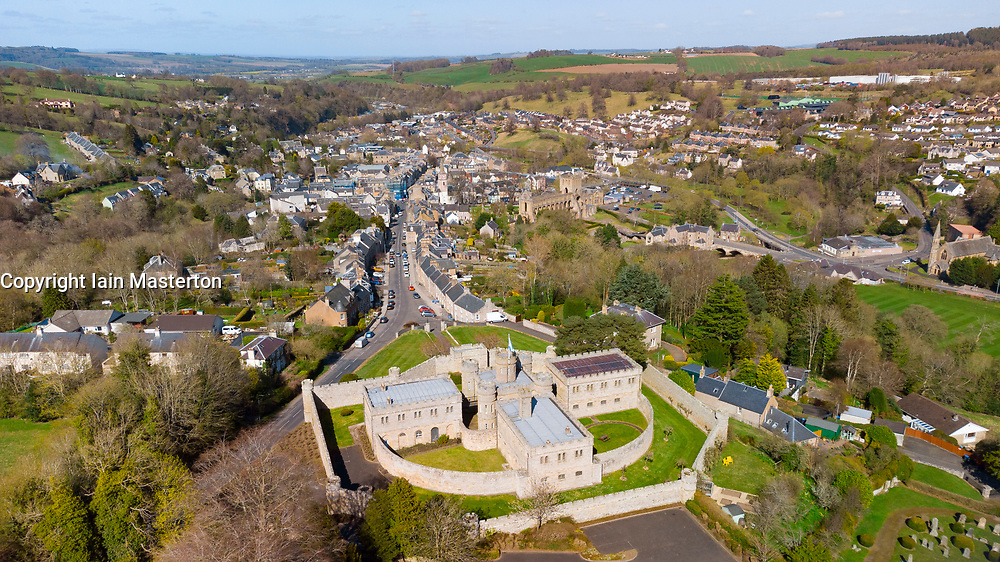 Aerial view from drone of Jedburgh Castle and Jail in Jedburgh, Scottish Borders, Scotland, UK
