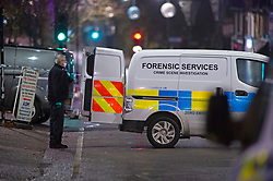 ©Licensed to London News Pictures 09/12/2019. <br /> Chislehurst,UK. Forensics on scene.  Man sets himself on fire outside The Queens Head pub in Chislehurst High Street, Chislehurst, South East London. A police cordon is in place. Photo credit: Grant Falvey/LNP