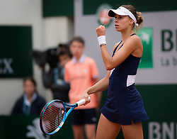 May 30, 2019 - Paris, FRANCE - Magda Linette of Poland in action during her second-round match at the 2019 Roland Garros Grand Slam tennis tournament (Credit Image: © AFP7 via ZUMA Wire)