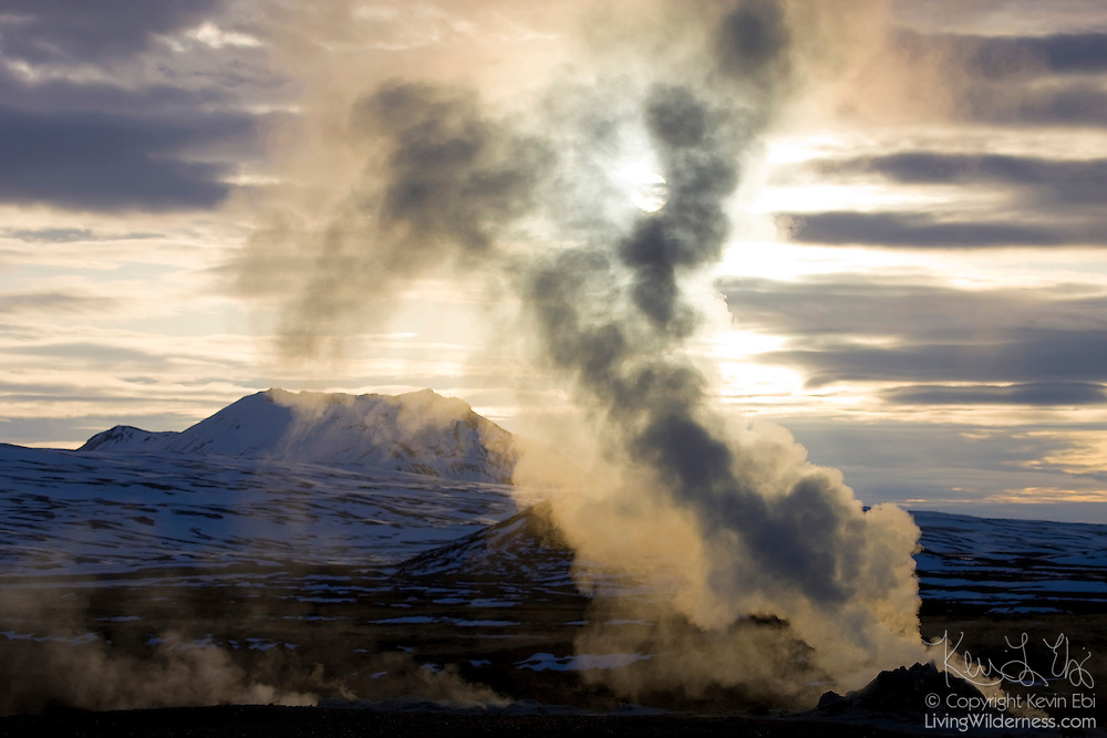 A fumerole shoots steam high into the air at Hverir, an especially active geothermal area in northern Iceland.