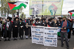 Ultra-Orthodox anti-Zionist Haredi Jews from Neturei Karta UK take part in the National Demonstration for Palestine on 22nd May 2021 in London, United Kingdom. The demonstration was organised by pro-Palestinian solidarity groups in protest against Israel's recent attacks on Gaza, its incursions at the Al-Aqsa mosque and its attempts to forcibly displace Palestinian families from the Sheikh Jarrah neighbourhood of East Jerusalem.