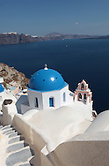 A church in the town of Oia on the island of Santorini.  Photograph by Dennis Brack