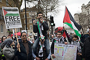 Pro-Palestinian protesters demonstration against the military offensive in Gaza by Israel on 7th April 2018 in London, England, United Kingdom. Demonstrators carried placards and banners calling to Free Palestine and to End the seige on Gaza at the demo called: Protest for Gaza: Stop the Killing.