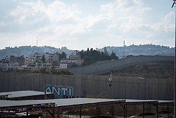 12 October 2018, Bethlehem, Occupied Palestinian Territories: The separation barrier cuts through Bethlehem, separating the Israeli side from the Palestinian one, near Checkpoint 300.