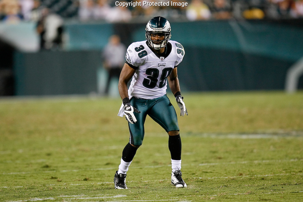 28 August 2008: Philadelphia Eagles safety Quintin Demps #39 prepares for a kickoff during the game against the New York Jets on August 28, 2008. The Jets beat the Eagles 27 to 20 at Lincoln Financial Field in Phialdelphia, Pennsylvania.