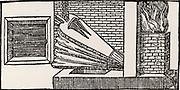 Smelting iron ore in a blast furnace.   From 'De la pirotechnia' by Vannoccio Biringuccio (Venice, 1540).