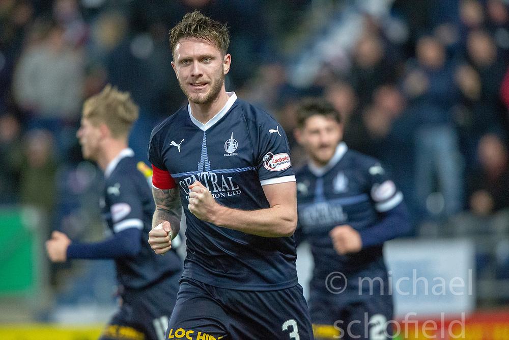 Falkirk's Jordan McGhee cele Joe McKee scoring their goal. Falkirk 1 v 1 Partick Thistle, Scottish Championship game played 17/11/2018 at The Falkirk Stadium.