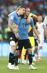 SOCHI, June 30, 2018  Diego Laxalt (R) of Uruguay celebrates after the 2018 FIFA World Cup round of 16 match between Uruguay and Portugal in Sochi, Russia, June 30, 2018. Uruguay won 2-1 and advanced to the quarter-final. (Credit Image: © Fei Maohua/Xinhua via ZUMA Wire)