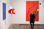 Three dimennsional paintings incl Red Panel 1936 - Alexander Calder: Performing Sculpture. Calder was one of the truly ground-breaking artists of the 20th century and as a pioneer of kinetic sculpture, played an essential role in shaping the history of modernism. Alexander Calder: Performing Sculpture brings together approximately 100 works to reveal how Calder turned sculpture from a static object into a continually changing work to be experienced in real time. Highlights include: One of Calder's largest mobiles Black Widow 1948, which has never been shown in the UK before; Seven of Calder's influential panel works, which are being shown together for the first time; A selection of Calder's early wire portraits, which include those representing illustrious figures such as Joan Miró, Edgard Varése and Fernand Léger; and recently restored works which haven't been shown for decades, including Acrobats 1929. The exhibition is at Tate Modern from 11 November 2015 - 3 April 2016.