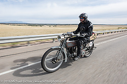 Jon Dobbs of Wisconsin riding his 1915 Harley-Davidson in the Motorcycle Cannonball Race of the Century. Stage-10 ride from Pueblo, CO to Durango, CO. USA. Tuesday September 20, 2016. Photography ©2016 Michael Lichter.