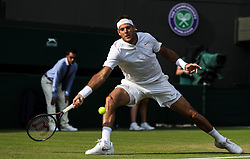 LONDON, July 6, 2018  Juan Martin Del Potro of Argentina hits a return during the men's singles second round match against Feliciano Lopez of Spain at the Wimbledon Championships 2018 in London, Britain, on July 5, 2018. Juan Martin Del Potro won 3-0. (Credit Image: © Shi Tang/Xinhua via ZUMA Wire)