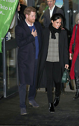 Prince Harry and Meghan Markle leaving the Star Hub in Tremorfa, Cardiff where they viewed how sport is being used to engage young people and aid social evelopment.