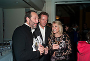 DAVID MACMILLAN; EDWARD ST. AUBYN; HELEN FIELDING, Party for Perfect Lives by Polly Sampson. The 20th Century Theatre. Westbourne Gro. London W11. 2 November 2010. -DO NOT ARCHIVE-© Copyright Photograph by Dafydd Jones. 248 Clapham Rd. London SW9 0PZ. Tel 0207 820 0771. www.dafjones.com.