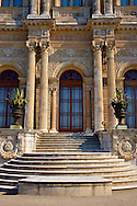 The Ottoman style Architecture of the front of the Dolmabahçe (Dolmabahce)  Palace, built by Sultan, Abdülmecid I between 1843 and 1856. Istanbul Turkey .<br /> <br /> If you prefer to buy from our ALAMY PHOTO LIBRARY  Collection visit : https://www.alamy.com/portfolio/paul-williams-funkystock/istanbul.html<br /> <br /> Visit our TURKEY PHOTO COLLECTIONS for more photos to download or buy as wall art prints https://funkystock.photoshelter.com/gallery-collection/3f-Pictures-of-Turkey-Turkey-Photos-Images-Fotos/C0000U.hJWkZxAbg