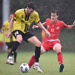 BRISBANE, AUSTRALIA - MARCH 21:  during the NPL Queensland Senior Men's Round 3 match between Moreton Bays Jets and Olympic FC on March 21, 2021 in Brisbane, Australia. (Photo by Patrick Kearney)