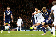 Scotland midfielder Stuart Armstrong (8) (Southampton)   shoots at goal during the UEFA Nations League match between Scotland and Israel at Hampden Park, Glasgow, United Kingdom on 20 November 2018.