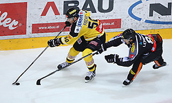 02.02.2016, Albert Schultz Eishalle, Wien, AUT, EBEL, UPC Vienna Capitals vs Dornbirner Eishockey Club, Platzierungsrunde, im Bild Mario Fischer (UPC Vienna Capitals) und Robert Lembacher (Dornbirner EC) // during the Erste Bank Icehockey League placement round match between UPC Vienna Capitals and Dornbirner Eishockey Club at the Albert Schultz Ice Arena, Vienna, Austria on 2016/02/02. EXPA Pictures © 2016, PhotoCredit: EXPA/ Thomas Haumer