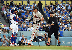 March 29, 2018 - Los Angeles, CA, U.S. - LOS ANGELES, CA - MARCH 29: San Francisco Giants Second base Joe Panik (12) rounds the bases after hitting for a solo home run during the MLB opening day game between the San Francisco Giants and the Los Angeles Dodgers on March 29, 2018 at Dodger Stadium in Los Angeles, CA. (Photo by Chris Williams/Icon Sportswire) (Credit Image: © Chris Williams/Icon SMI via ZUMA Press)