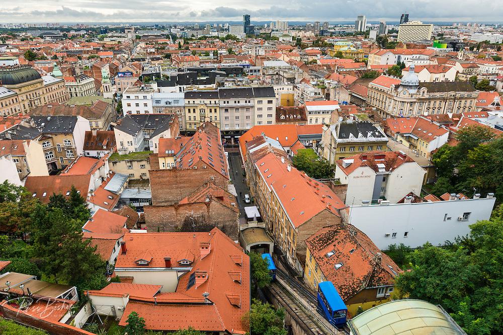 View from Lotrščak Tower in old town Gradec, Zagreb, Croatia