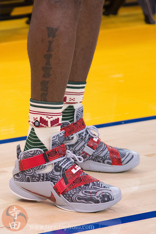 December 25, 2015; Oakland, CA, USA; Detail view of the Nike shoes worn by Cleveland Cavaliers forward LeBron James (23) before a NBA basketball game on Christmas against the Golden State Warriors at Oracle Arena. The Warriors defeated the Cavaliers 89-83.
