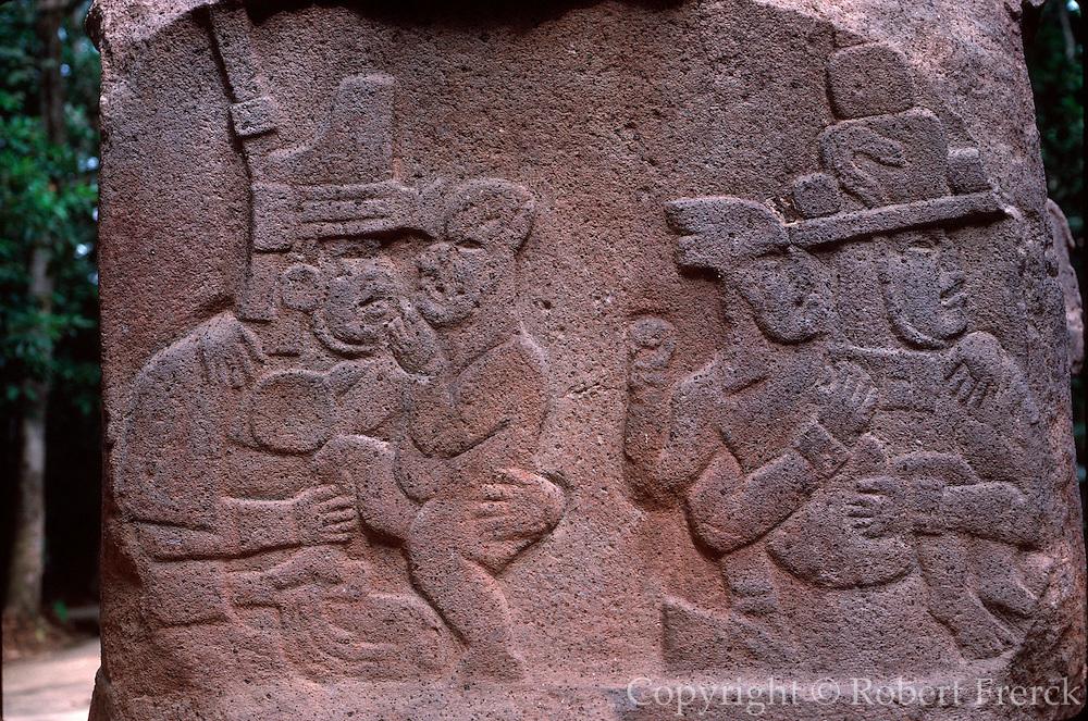 MEXICO, TABASCO, OLMEC carved altar in La Venta Museum