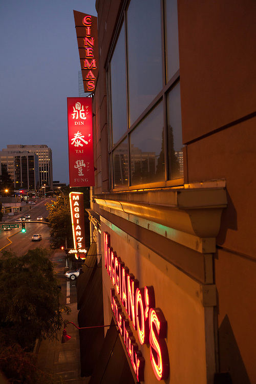 United States, Washington, Bellevue, neon signs at Lincoln Square shopping area