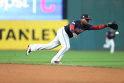 October 11, 2017 - Cleveland, OH, USA - Cleveland Indians second baseman Jose Ramirez can't reach a two-run single by the New York Yankees' Brett Gardner in the ninth inning during Game 5 of the American League Division Series, Wenesday, Oct. 11, 2017, at Progressive Field in Cleveland. The Yankees advanced with a 5-2 win. (Credit Image: © Phil Masturzo/TNS via ZUMA Wire)
