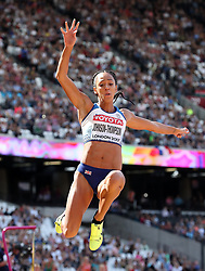 Great Britain's Katarina Johnson-Thompson competes in the Long Jump element of the Heptathlon during day three of the 2017 IAAF World Championships at the London Stadium.