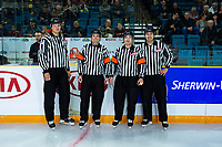 KAMLOOPS, CANADA - NOVEMBER 5:  Referees and linesman stand on the ice on November 5, 2018 at Sandman Centre in Kamloops, British Columbia, Canada.  (Photo by Marissa Baecker/Shoot the Breeze)