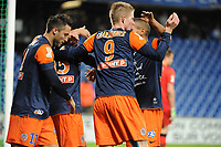 FOOTBALL - FRENCH LEAGUE CUP 2012/2013 - 1/8 FINAL - MONTPELLIER HSC v GIRONDINS BORDEAUX - 31/10/2012 - PHOTO SYLVAIN THOMAS / DPPI - JOY JONATHAN TINHAN (MHSC) WITH TEAMMATES AFTER HIS GOAL