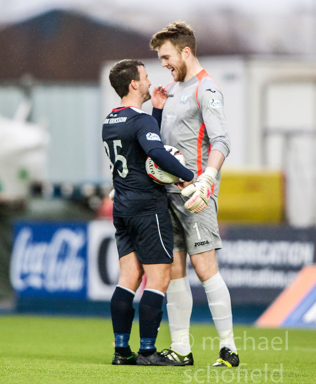 Falkirk's Mark Millar jokes with  Queen of the South's keeper Zander Clark before the penalty.<br /> Falkirk 1 v 0 Queen of the South, Scottish Championship game today at the Falkirk Stadium.<br /> © Michael Schofield.