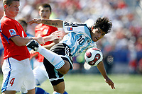 WORLD CUP U20 CHAMPION CELEBRATION <br /> ARGENTINA (ARG) its the new u20 Soccer football FIFA Champion, after beat 2-1 in the final match the  CZECH Republic (CZE) team in Toronto, Canada 22/07/07<br /> Here Argentine player  SERGIO AGUERO and Czech Republic MAZUCH Ondrej <br /> © Gabriel Piko / PikoPress