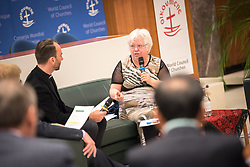 18 September 2017, Geneva, Switzerland: A talkshow format presents a range of programmes and activities of the World Council of Churches, at the Ecumenical Centre in Geneva where the WCC hosts a meeting of member churches' Ecumenical Officers. Here, interview with Clare Amos.