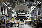 SAN LUIS POTOSI, MEXICO - JUNE 13, 2019: Workers at the BMW vehicles production plant in Mexico.