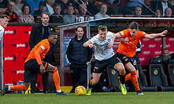 Partick Thistle's Lewis Mayo and Dundee United's Lawrence Shankland. Dundee United 1 v 1 Partick Thistle, Scottish Championship game played 7/3/2020 at Dundee United's stadium Tannadice Park.