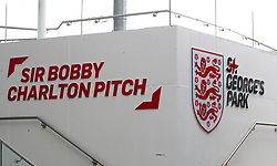 The England training pitch is renamed after Sir Bobby Charlton for his 80th birthday during a training session for the media day at St George's Park, Burton upon Trent.