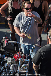 """Chris Wade gets the Cycle Source award from Chris Callen at Willie's Tropical Tattoo """"Chopper Time"""" old school chopper show during Daytona Bike Week's 75th Anniversary event. Ormond Beach, FL, USA. Thursday March 10, 2016.  Photography ©2016 Michael Lichter."""