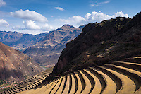 PISAC, PERU - CIRCA OCTOBER 2015:  Inca Terraces in the PIsac arqueological site, on the Cusco region known as Sacred Valley