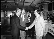 President Hillery at The Community Games..1979..15.09.1979..09.15.1979..15th September 1979..President Patrick Hillery attended the opening of The National Community Games finals at Mosney, Co Meath today. The finals were held in the grounds of The Butlins Holiday Centre and were sponsored by Tayto Irl Ltd,Greencastle Road,Coolock,Dublin..Image of Mr Kevin Masterson, Marketing Director,Tayto Irl Ltd,Sponsors of the event being introduced to the President by Mr William Walshe, National President,Community Games.