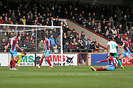 GOAL Plymouth Argyll forward Freddie Ladapo (19) scores 1-0 during the EFL Sky Bet League 1 match between Scunthorpe United and Plymouth Argyle at Glanford Park, Scunthorpe, England on 27 October 2018. Pic Mick Atkins