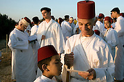 Israel, West Bank, samaritan raising of the Torah Scrolls ceremony on mount gerizim during Shavuot festival