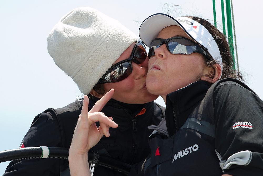 Kathrin Kadelbach (L) and Ulrike Schuemann, Ewe Sailing Team. World Match Race Tour. Match Race Germany. Langenargen, Germany. 19 May 2010. Photo: Gareth Cooke/Subzero Images/WMRT