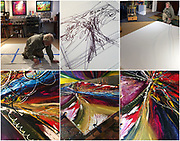 Art can be hard work, emotionally and physically. This one proved to be both! Working on 'ROAD TRIP.' This painting would WIN the 2018 International award from Artist Magazine, Annual Abstract competition. You never know what will spring from that big white sheet of canvas rolled out on the floor?