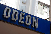 Sign for the cinema brand Odeon in Birmingham, United Kingdom.